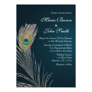 """El boda azul simple de la pluma del pavo real invitación 5"""" x 7"""""""