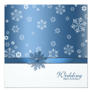 """El boda azul y blanco del invierno del copo de invitación 5.25"""" x 5.25"""""""