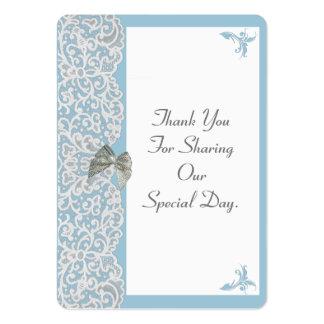 El boda azul y blanco en colores pastel del cordón tarjetas de visita grandes