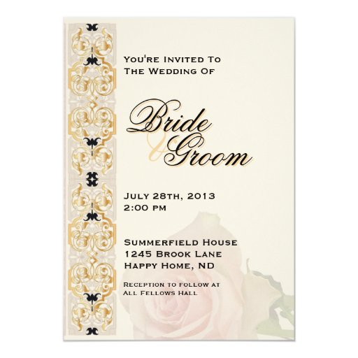 """El boda beige, rosado y del oro invita - a 2 invitación 5"""" x 7"""""""