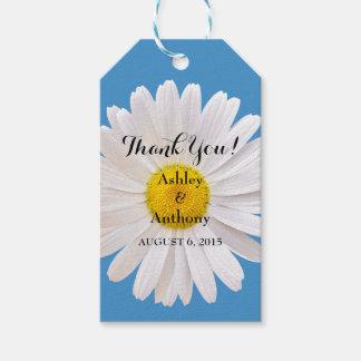 El boda blanco azul de la margarita le agradece etiquetas para regalos