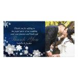 El boda blanco azul del invierno le agradece las t tarjeta con foto personalizada