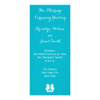 El boda blanco azul del Seahorse programa tarjetas Plantilla De Lona