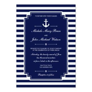 """El boda blanco azul náutico fresco elegante invita invitación 5"""" x 7"""""""