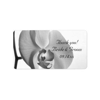 El boda blanco de la orquídea le agradece etiqueta etiqueta de dirección