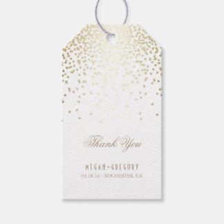 El boda blanco del confeti del oro le agradece etiquetas para regalos
