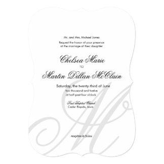 """El boda blanco del monograma elegante simple invitación 5"""" x 7"""""""