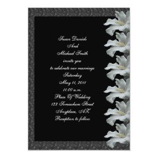 """El boda blanco del negro de la flor del hibisco invitación 5"""" x 7"""""""