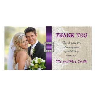 El boda blanco del vintage del cordón le agradece  plantilla para tarjeta de foto