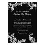 El boda blanco floral elegante del pavo real del invitación 12,7 x 17,8 cm