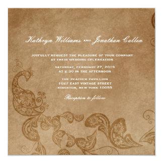 El boda blanco floral elegante del pavo real del invitación 13,3 cm x 13,3cm