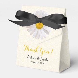 El boda blanco negro amarillo del cordón de la cajas para regalos