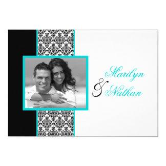 """El boda blanco negro de la foto del damasco de la invitación 5"""" x 7"""""""