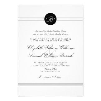 """El boda blanco negro elegante elegante del invitación 5"""" x 7"""""""
