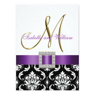 """El boda blanco negro púrpura de la inicial del invitación 5.5"""" x 7.5"""""""