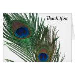 El boda blanco precioso del pavo real le agradece tarjeta pequeña