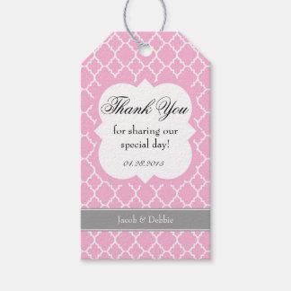 El boda blanco rosado de Quatrefoil le agradece Etiquetas Para Regalos