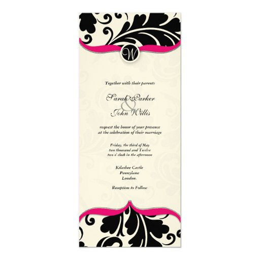El boda blanco y negro del damasco invita con rosa invitacion personal