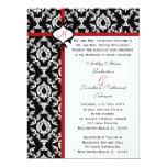 El boda blanco y negro del damasco invita invitación 16,5 x 22,2 cm