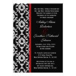El boda blanco y negro del damasco invita anuncios personalizados
