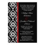 El boda blanco y negro del damasco invita invitación 12,7 x 17,8 cm