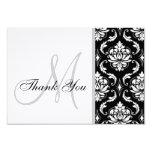 El boda blanco y negro del damasco le agradece invitación 8,9 x 12,7 cm