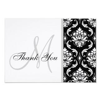 El boda blanco y negro del damasco le agradece invitación