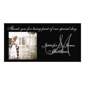 El boda blanco y negro le agradece las tarjetas de tarjetas fotográficas personalizadas