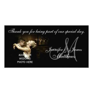 El boda blanco y negro le agradece tarjeta del mon tarjeta fotografica