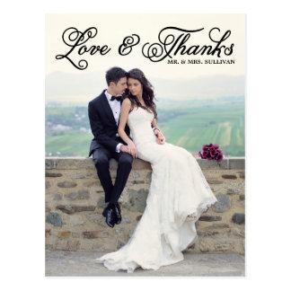 El boda bonito negro de la escritura le agradece p tarjeta postal