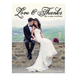 El boda bonito negro de la escritura le agradece postales