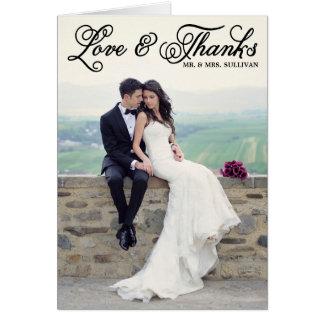 El boda bonito negro de la escritura le agradece tarjeta de felicitación