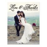 El boda bonito negro de la escritura le agradece tarjeta postal