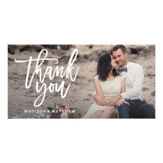 El boda cepillado le agradece tarjeta de la foto tarjeta fotografica personalizada