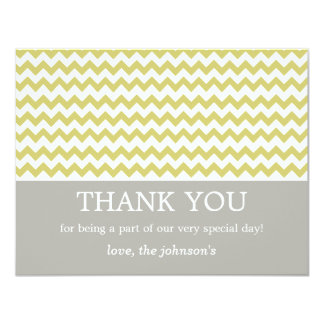 """El boda chartreuse de Chevron le agradece las Invitación 4.25"""" X 5.5"""""""