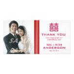 El boda chino de la felicidad doble le agradece tarjeta personal con foto