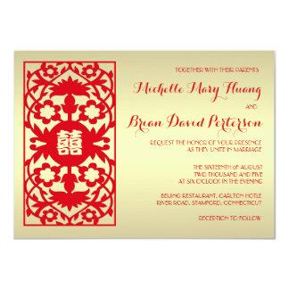 """El boda chino del oro rojo clásico de la tradición invitación 4.5"""" x 6.25"""""""