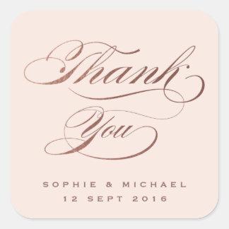 El boda color de rosa de la caligrafía del oro le pegatina cuadrada