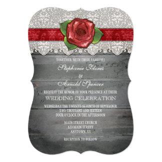 """El boda color de rosa de madera rústico gris rojo invitación 5"""" x 7"""""""