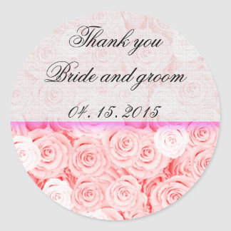 El boda color de rosa rosa claro favorece la pegatina redonda