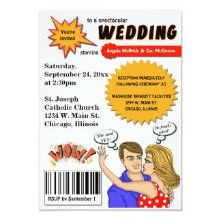 """El boda colorido de la cubierta de cómic del arte invitación 5"""" x 7"""""""