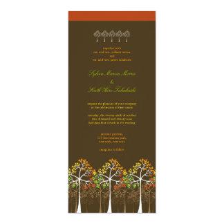 El boda colorido del arbolado de los árboles de la invitación 10,1 x 23,5 cm