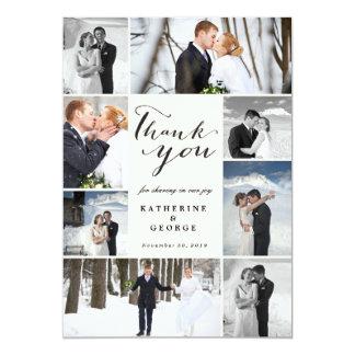 """El boda con clase moderno del collage de la foto invitación 5"""" x 7"""""""