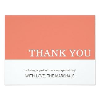 """El boda coralino del bloque del color le agradece invitación 4.25"""" x 5.5"""""""