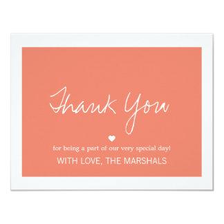 """El boda coralino del diseño del amor le agradece invitación 4.25"""" x 5.5"""""""