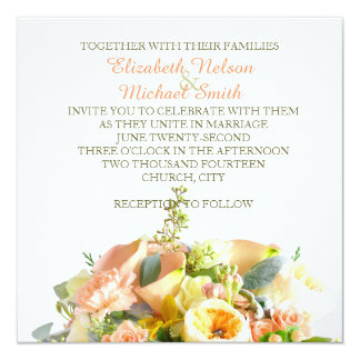 """El boda coralino del ramo floral de la belleza invitación 5.25"""" x 5.25"""""""