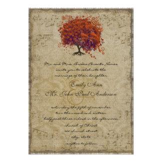El boda coralino oscuro del árbol del corazón del comunicado personal