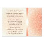 El boda coralino romántico de lujo del damasco invitación 11,4 x 15,8 cm