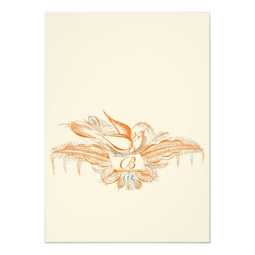 """El boda coralino y gris del pájaro del Flourish Invitación 5"""" X 7"""""""