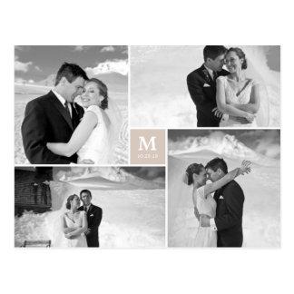 El boda cuadrado de centro del monograma le agrade postal